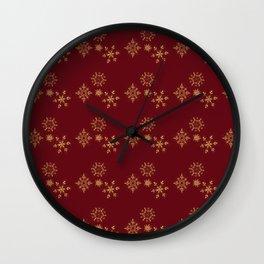 Golden Snowflake Pattern Wall Clock