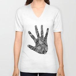 Clashing Hand  Unisex V-Neck