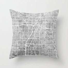 Silver Las Vegas map Throw Pillow