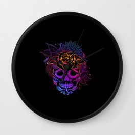 Colorful sugar skull mandala and flowers Wall Clock