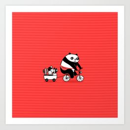 Cacti delivery. Panda on bicycle. Art Print
