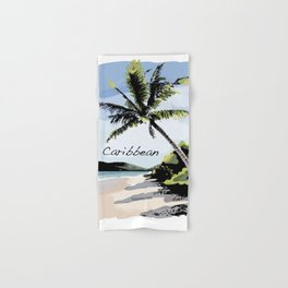 Tropical Beach Coconut Tree Caribbean Hand & Bath Towel