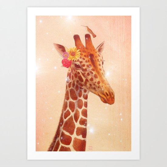 Giraffe and the stars Art Print