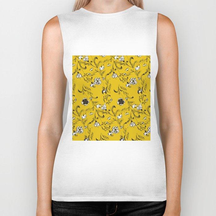 Yellow Floral Pattern Biker Tank