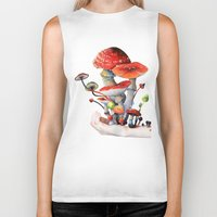 mushrooms Biker Tanks featuring Mushrooms by Belle Kim