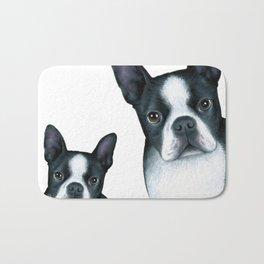 Boston Terrier Dogs black and white Bath Mat
