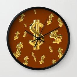 FLOATING GOLDEN DOLLARS  IN COFFEE BROWN DESIGN Wall Clock