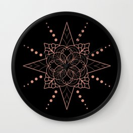 Copper Mandala on Black Wall Clock