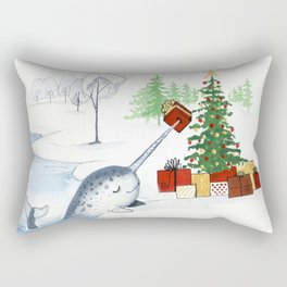 Christmas Narwhal Rectangular Pillow