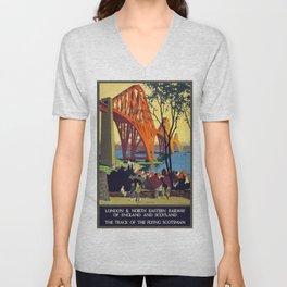 Vintage poster - Forth Bridge Unisex V-Neck