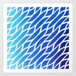 Blue Diagonal Pattern Art Print