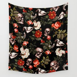 Floral and Skull Dark Pattern Wall Tapestry
