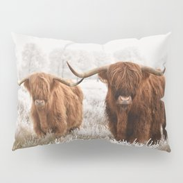 Hairy Scottish highlanders in a natural winter landscape. Pillow Sham