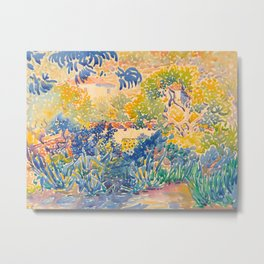 Henri-Edmond Cross Neo-Impressionism Pointillism The Artist's Garden at St. Clair Watercolor Paintin Metal Print