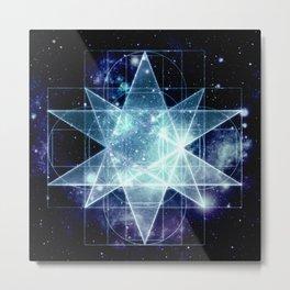 Galaxy Sacred Geometry : Stellated Icoshadron Blue Metal Print
