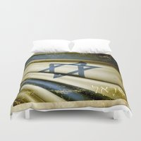 israel Duvet Covers featuring Israel grunge sticker flag by Lulla