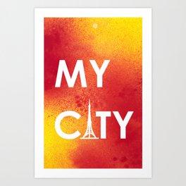 MyCity-Tokyo-RedYellowA Art Print