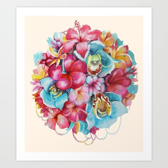 Hawaiian Bouquet Art Print by katetoluzakova   Society6