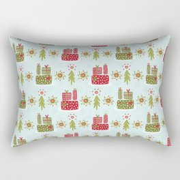Wrapped Presents Under the Tree Green and Red Rectangular Pillow