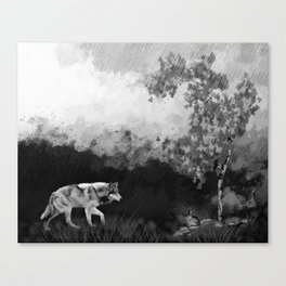 Wolf Walking Watercolor (Black and White) Canvas Print