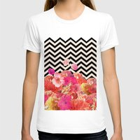 flowers T-shirts featuring Chevron Flora II by Bianca Green