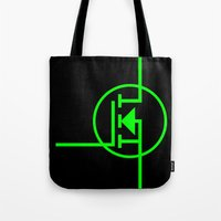 transistor Tote Bags featuring N-TYPE MOSFET by EEShirts