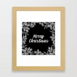 Merry Christmas Black and White Framed Art Print