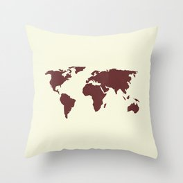 World Map -  Crimson Red on Cream Linen Throw Pillow