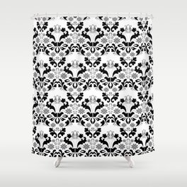 Abstract seamless black and grey ornament Shower Curtain