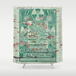 Distressed Glastonbury 1982 Poster Shower Curtain