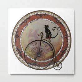 Cat On Wheels Metal Print