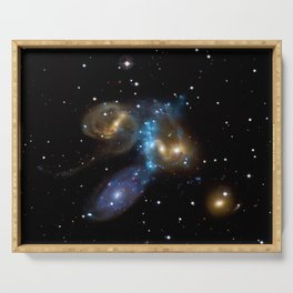 Stephan's Quintet of Five Galaxies in Constellation Pegasus Deep Space Telescopic Photograph Serving Tray