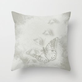 delicate butterflies and textured chevron pattern Throw Pillow