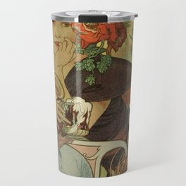 Alfons Mucha art nouveau beer ad Travel Mug