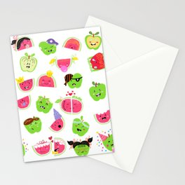 Happy Apples and watermelons Stationery Cards