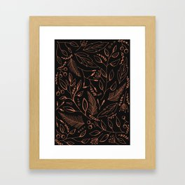 Holiday Pattern in black background and rose leaves Framed Art Print