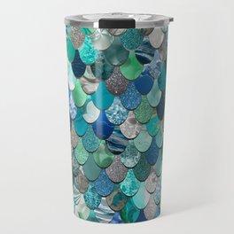 Mermaid Pattern, Sea,Teal, Mint, Aqua, Blue Travel Mug