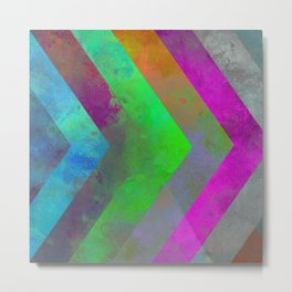 Textured Direction - Abstract, multi coloured, geometric painting Metal Print