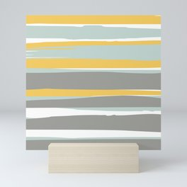 Stripe Abstract, Sun and Beach, Yellow, Pale, Aqua Blue and Gray Mini Art Print