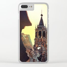 Watercolor painting of the Cathedral on the Plaza de Armas in Arequipa, Peru. Clear iPhone Case