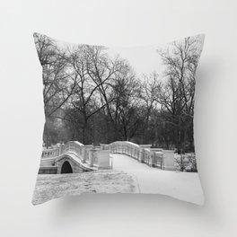 Winter Solitude - St. Louis Snowy Bridge Throw Pillow
