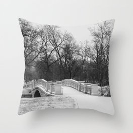 Winter Solitude | Black and White Nature Photography of Snowy Bridge in St. Louis Forest Park Throw Pillow