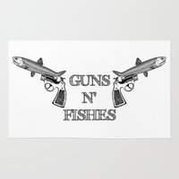 guns Area & Throw Rugs featuring Guns n' Fishes by Antoine