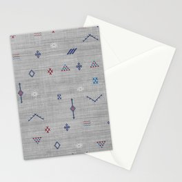 Cactus Silk Pattern in Grey Stationery Cards