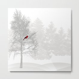 Red Cardinal in a Snowy White Forest Metal Print