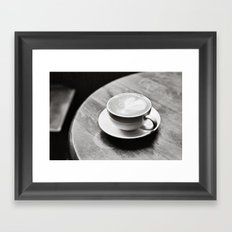 white coffee heart Framed Art Print