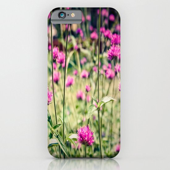 Pink Thistle Flowers in Field iPhone & iPod Case