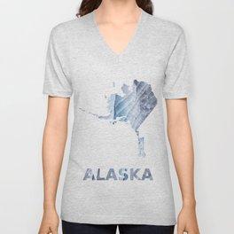 Alaska map outline Light steel blue clouded wash drawing Unisex V-Neck