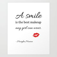 marylin monroe Art Prints featuring Marylin monroe Quote typography  by Home Art & Beyond