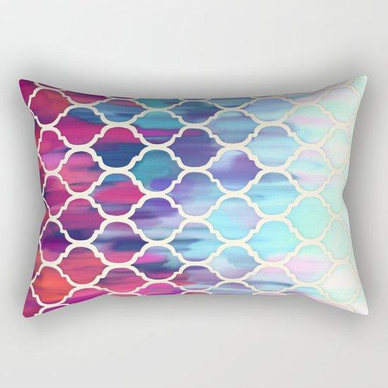Moroccan Meltdown - pink, purple & aqua painted tiles Rectangular Pillow